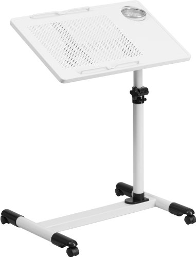 Shasta White Adjustable Height Steel portable Home/Office Computer Desk by iHome Studio