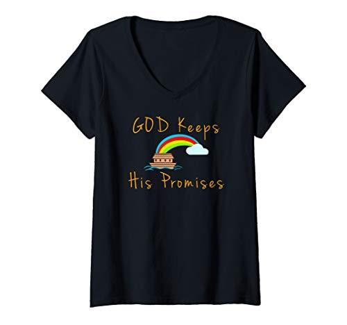 Womens Noahs Ark God Keeps His Promises V-Neck T-Shirt -