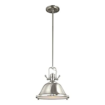 Sea Gull Lighting 6514401EN-962 Stone Street One-Light Pendant with Glass Diffuser and Steel Shade, Brushed Nickel Finish