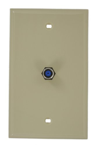 Leviton 80781-I Standard Video Wall Jack, F Connector, Ivory - Standard Video Wall Jack