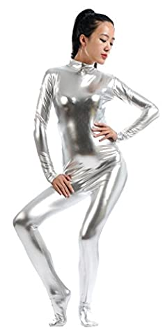 Ensnovo Womens Shiny Metallic Zentai Suit Wetlook Spandex Turtleneck Unitard Silver,DZ - Lycra Turtleneck Dress