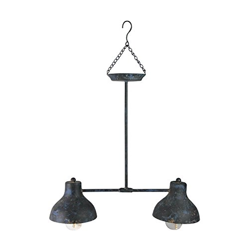"""Gerson 19.75"""" Blue and Black Distressed Decorative Lighted Hanging..."""