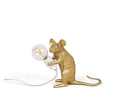 CLFINE Modern Gold Resin Mouse Lamp Table Lights Creative Desk Lamps Bedside Gift Decoration LED Bedroom,Study Room(Sitting) (Lamp Monkey Bedside)