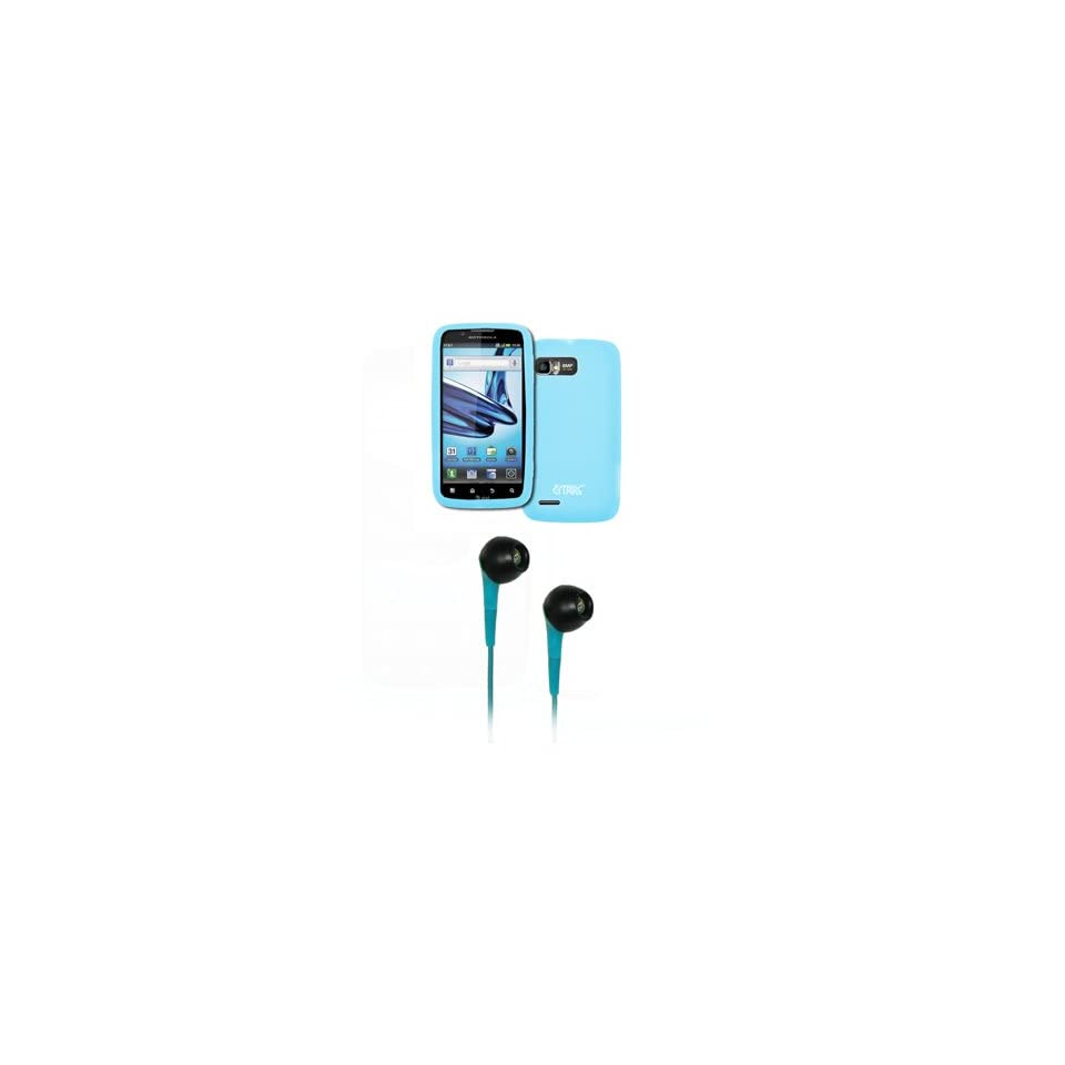 EMPIRE Motorola Atrix 2 Light Blue Silicone Skin Case Cover + Light Blue 3.5mm Stereo Headphones [EMPIRE Packaging]