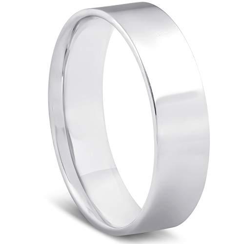 10k White Gold 6mm Flat Comfort Fit High Polished Wedding Band Mens Ring - Size 10.5 10k White Gold Flat Band