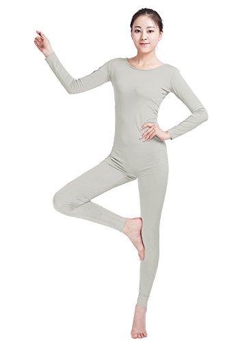 Ensnovo Womens Spandex Bodysuit Long Sleeve Scoop Neckline Footless Unitard Light Gray,M - Female Bodysuit