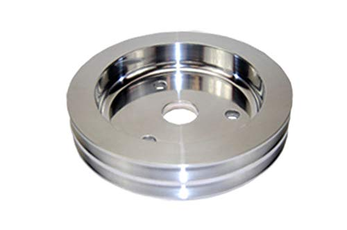 Pirate Mfg SBC Chevy 283-350 Machined Aluminum SWP Double Groove Crankshaft Pulley (Aluminum Chevy Pulley)