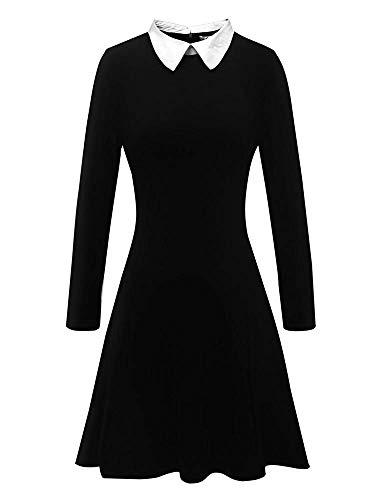 NEHO Women's Peter Pan Collar Skater Dress Fancy Swing Costume Party Casual Dress -