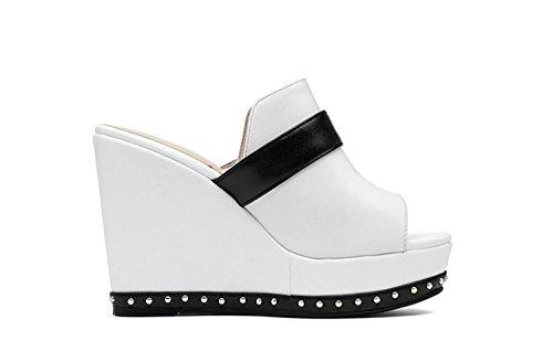 Lounger de Pantoufles DANDANJIE Super Femmes Haute Eté Qualité Pantoufles High Talon Respirant Printemps Chaussures Slip Blanc Sandales 88wAqHgE