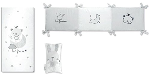 Pirulos 21012410/ paracolpi e cuscino motivo Love Friends /Piumone colore: bianco//grigio 62/x 125/cm