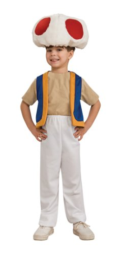 Mario Costumes Family Brothers (Super Mario Brothers Child's Costume, Toad Costume Small 4-6 fits ages 3 to 4)