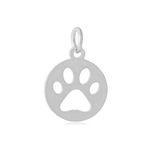 - 3pc Stainless Steel Silver Round Cat Dog Paw Print Charms with Loop for Jewelry Making, Collars - Hypoallergenic (14mm)
