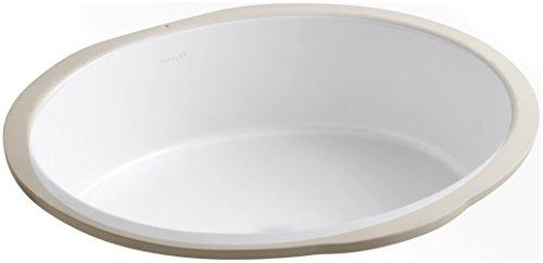 Kohler 2881-0 Vitreous china undermount Round Bathroom Sink, 20.88 x 17.88 x 8.44 inches, White ()