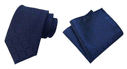 (MOHSLEE Men's Navy Blue Plaid Striped Suit Ties Handky Necktie Pocket Square Set)