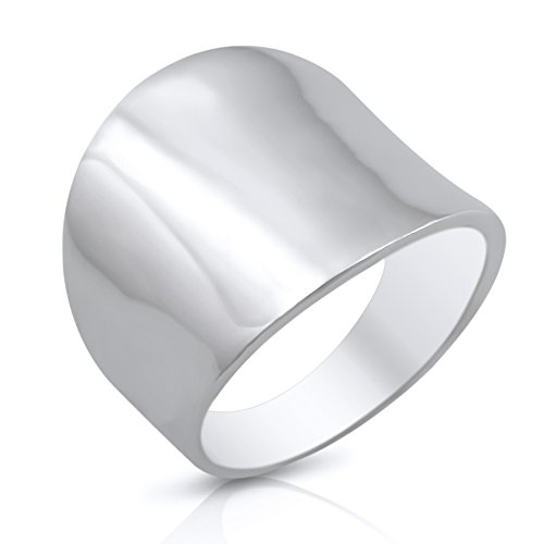 Sterling Silver 19mm Plain Wide Cigar Band Ring - Size 8 (Ring 19mm)