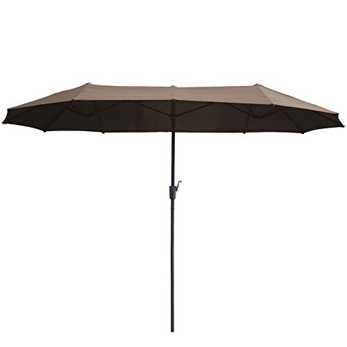AOODA 13 ft Market Patio Umbrella Double-Sided Steel Table Outdoor Umbrella with Crank, Perfect for Outdoors, Patio, or Any Parties (Brown)