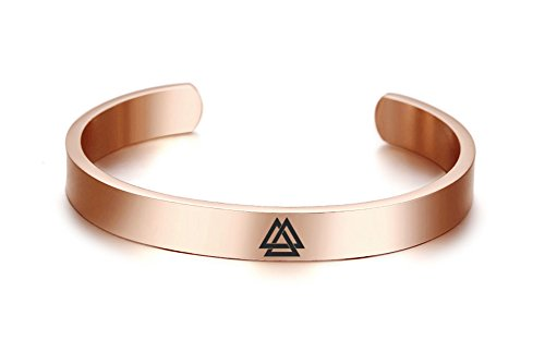 (VNOX Viking Jewelry 8MM Valknut Symbol Norse 18K Rose Gold Plated Stainless Steel Cuff Bangle Bracelet,60MM)