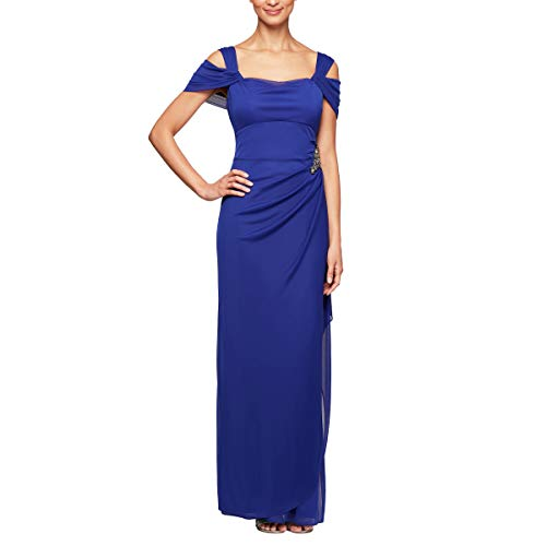 Wedding Mother Of The Bride Dresses - Alex Evenings Women's Plus Size Cold-Shoulder Dress Side Ruched Skirt, Embellished Bright Purple, 20W