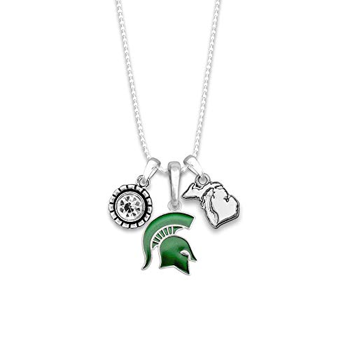 (FTH Licensed Michigan State Spartans Home Sweet School College University Pendant Necklace with Gift Box)