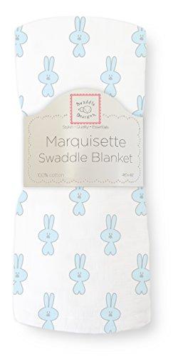 SwaddleDesigns Marquisette Swaddling Blanket, Premium Cotton Muslin, Pastel Blue Little Bunnie