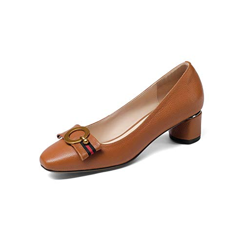BalaMasa Womens Beaded Solid Pumps-Shoes Urethane Pumps Shoes APL11196 Brown