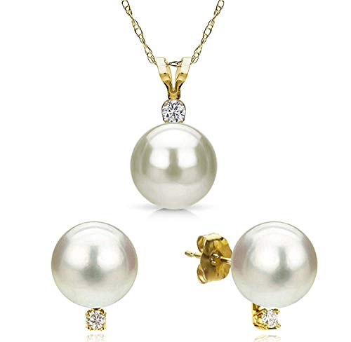 14K Yellow Gold 0.09 Cttw Diamond and 8-8.5mm Freshwater Cultured White Pearl Stud Earrings and 18