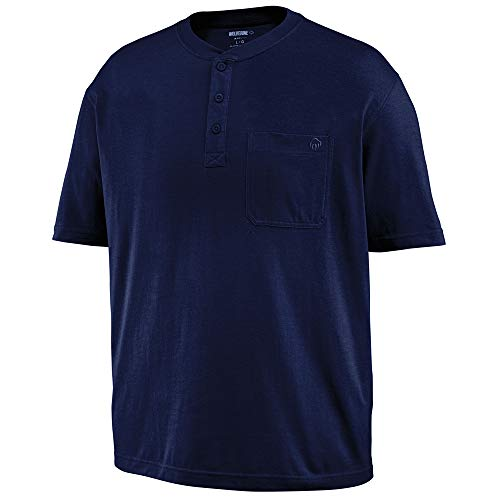 Sleeve Work Short Pencil Shirt (Wolverine Men's Knox Short Sleeve Pocketed Wicking Henley, Navy, X-Large)