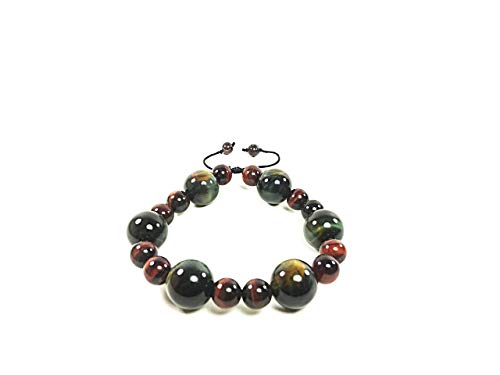 AURAS BY OSIRIS - Handmade Red Tiger Eye And Blue Tiger Eye Bracelet - Adjustable - Fits Any Size Wrist - Life Force Energy - Vision - For Men