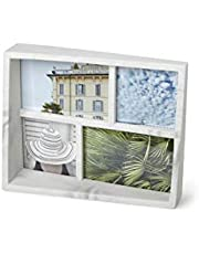 Umbra, White Marble Edge 4x6 and 5X7 Picture Frame and Photo Display for Desktop or Wall, Finish, Multi