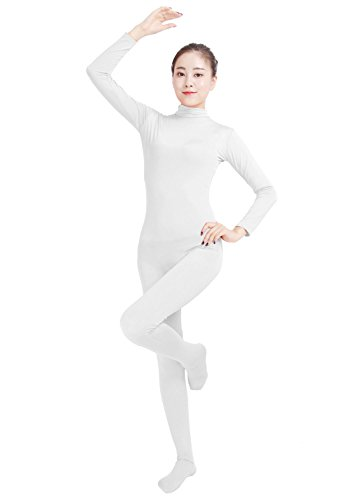 Ensnovo Womens Lycra Spandex Zentai Suits One Piece Footed Unitard (White Unitard)