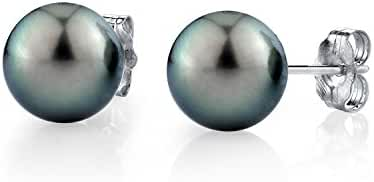 14K Gold Green Tahitian South Sea Cultured Pearl Stud Earrings - AAA Quality