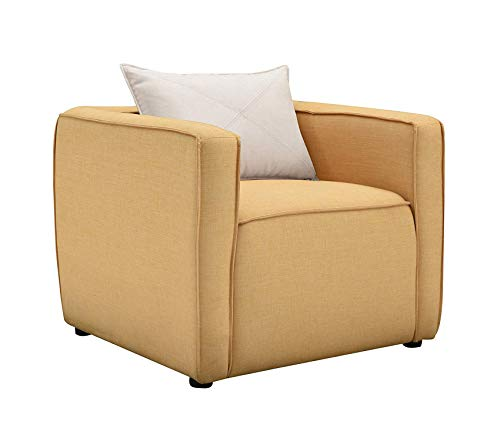 Wood & Style Office Home Furniture Premium Nami Accent Chair, Yellow