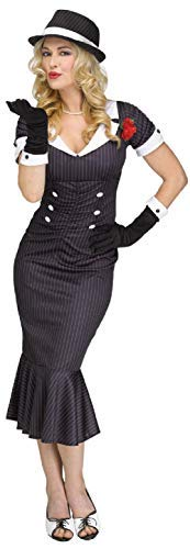 Ladies 1920s 20s Gangsters Moll Boss Mafia Babe TV Film Fancy Dress Costume Outfit (UK 10-12)]()