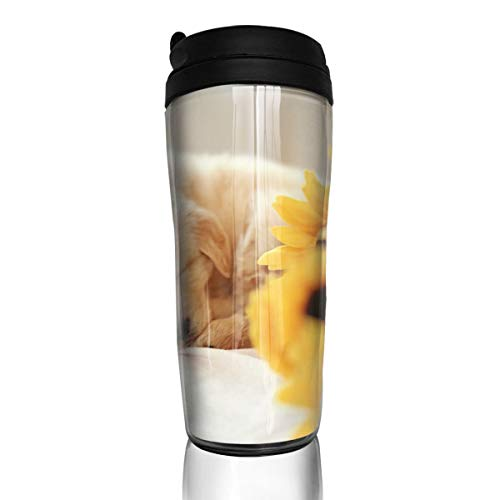ZYGCMYX Cute Puppies in The Sunflowers Printed Graphic Coffee Cup Insulated Travel Car Mug