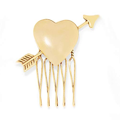 KuCharm Women Bridal Cute Arrow Heart Cupid Hair Comb Metal Gold Jewelry Hair Clip European Style Wedding Updo Hairpin Ponytail Holder ()