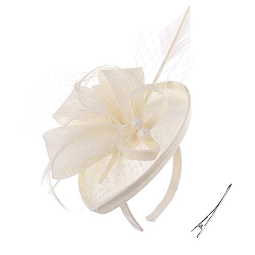 - Felizhouse Fascinator Hats for Women Ladies Feather Cocktail Party Hats Bridal Headpieces Kentucky Derby Ascot Fascinator Headband (#2 Cambric Beige)