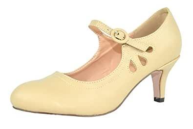 Chase & Chloe Women's Kimmy-21 Regular, Mary Jane Boots Size: 5.5