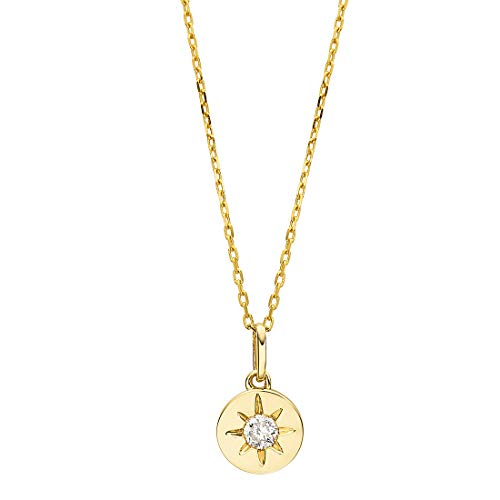 "Carleen 18K Solid Yellow Gold Diamond Round Circle Star Dainty Pendant Necklace for Women Girls (0.1ct, I-J Color, SI2 Clarity), 16"" + 2"" Extender"