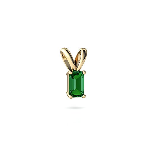 Emerald Cut Solitaire Pendant - 14kt Yellow Gold Lab Emerald 5x3mm Emerald_Cut Solitaire Pendant