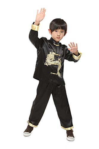 (Suimiki Traditional Chinese Dragon Kung Fu Outfit Tang Suit for Boys Black 16)