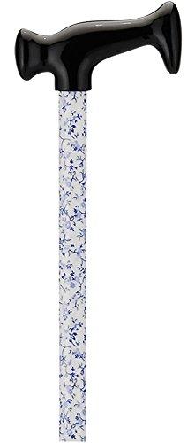 NOVA T-Grip Designer Cane, White with Blue Flowers - Flower Cane