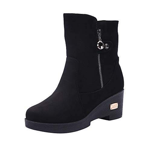 LIM&Shop ⭐ Women's Block Heels Winter Boots Slouchy Knee Suede Slouch Boot Buckles Booties Comfy Side Zipper Warm Shoes Black from LIM&SHOP-Sandals & Sneakers