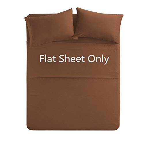 King Size Flat Sheet Single - 300 Thread Count 100% Egyptian Cotton Quality - Luxury Ultra Soft Flat Sheet Sold Separately - Brown
