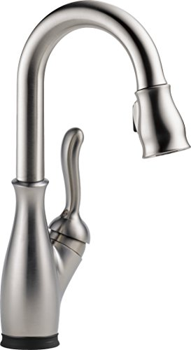 Delta Faucet 9678T-SP-DST Leland Single Handle Pull-Down Bar/Prep Faucet with Touch2O Technology, SpotShield Stainless