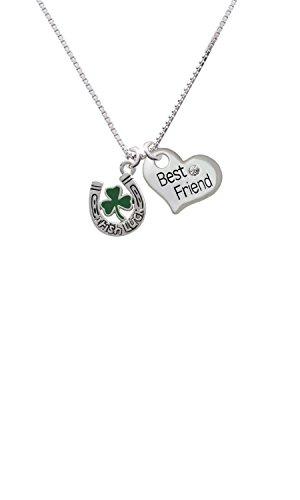 Irish Luck Horseshoe with Shamrock - Best Friend Heart Necklace