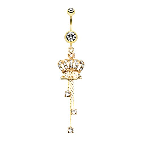 Golden Juicy Crown Sparkle WildKlass Belly Button Ring - Juicy Crown