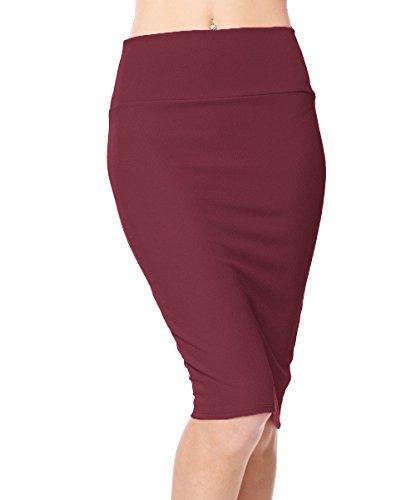 Urban CoCo Women's High Waist Stretch Bodycon Pencil Skirt (L, Wine red)