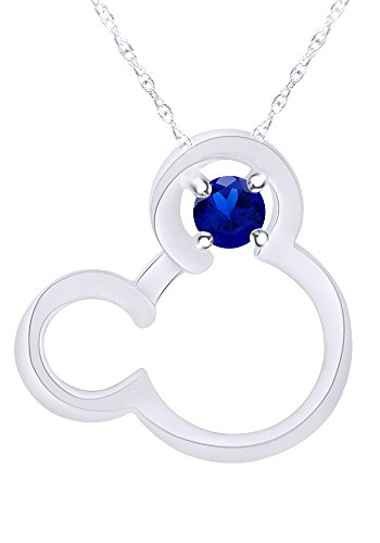 Wishrocks Round Cut Simulated Blue Sapphire Mickey Mouse Pendant Necklace in 14K White Gold Over Sterling Silver ()