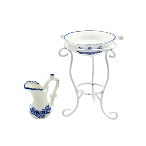 (NATFUR 1/12 Scale Dollhouse Accessories Mini Ceramic Water Pot Washbasin with Rack)