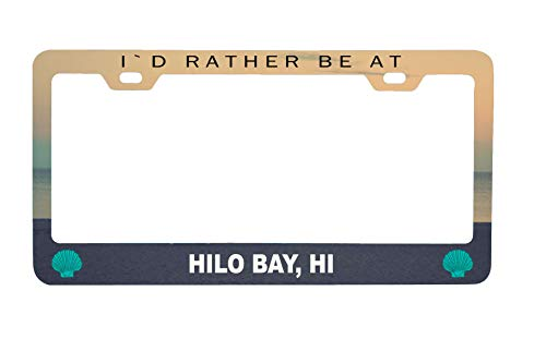 R and R Imports Hilo Bay Hawaii Sea Shell Design Souvenir Metal License Plate Frame